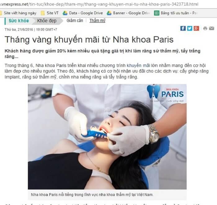 Báo chí và khách hàng nói gì về nha khoa Paris tại TPHCM ? 1