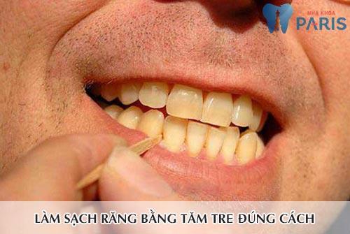 Cách làm sạch răng bằng tăm tre 2