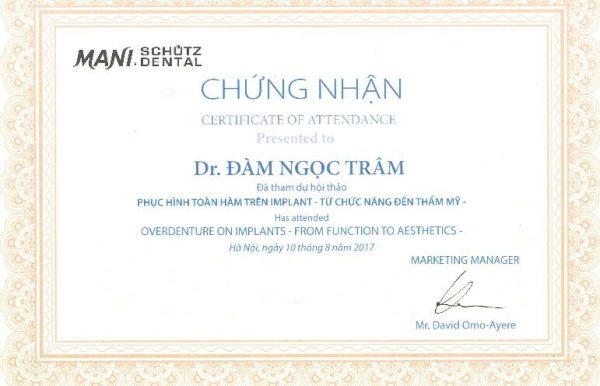 Chứng nhận tham gia chương trình Hội thảo về Phục hình toàn hàm trên Implant