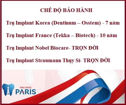 Bảo hành trồng răng implant tại Nha khoa Paris Hải Phòng