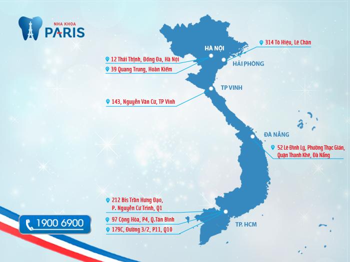 Bản đồ hệ thống nha khoa Paris