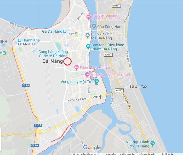 Vị trí Nha khoa Paris trên bản đồ tổng thể của thành phố Đà Nẵng - khá gần khu vực trung tâm thành phố