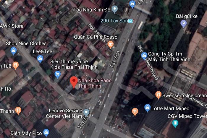 Hình ảnh vệ tinh về cơ sở Nha khoa Paris 12 Thái Thịnh