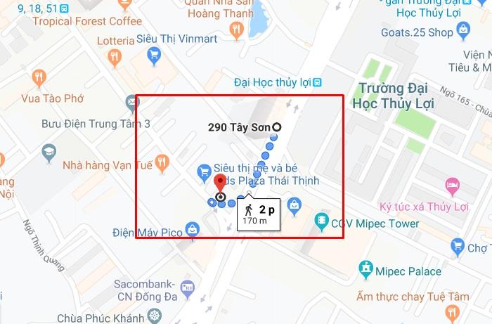 Bạn chỉ mất khoảng 2 phút để đi bộ từ bến xe bus đến địa chỉ 12 Thái Thịnh