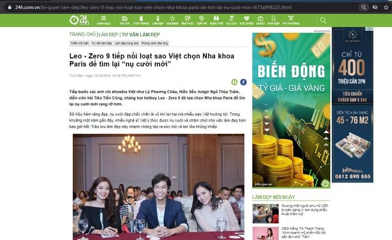 báo 24h đưa tin về các nghệ sĩ làm răng ở nha khoa paris