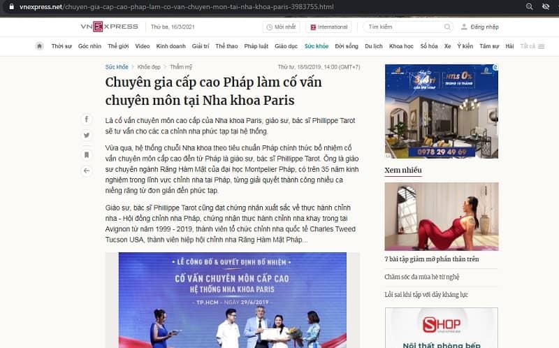 vnexpress đưa tin về chuyên gia cao cấp nha khoa paris