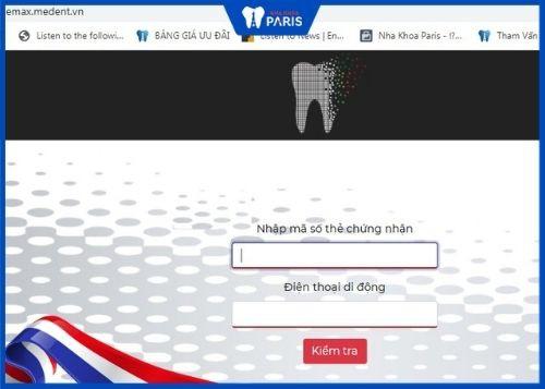 kiểm tra thẻ bảo hành răng sứ chính hãng